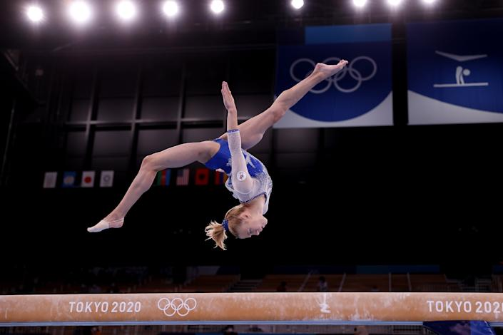 <p>TOKYO, JAPAN - JULY 27: Viktoriia Listunova of Team ROC competes in balance beam during the Women's Team Final on day four of the Tokyo 2020 Olympic Games at Ariake Gymnastics Centre on July 27, 2021 in Tokyo, Japan. (Photo by Laurence Griffiths/Getty Images)</p>