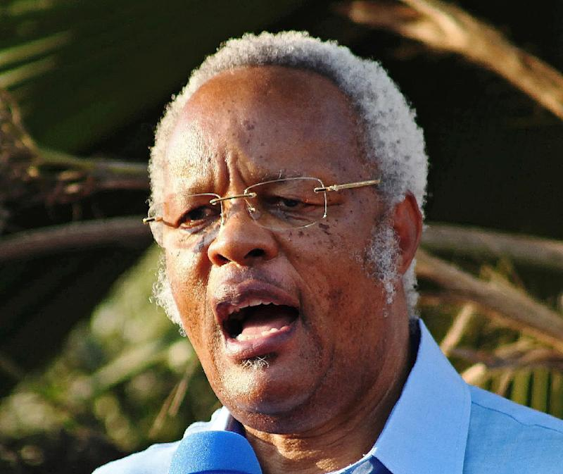 "Edward Lowassa, former prime minister of Tanzania and candidate for the opposition coalition ""the Coalition of Defenders of People's Constitution"" during a rally on August 10, 2015"