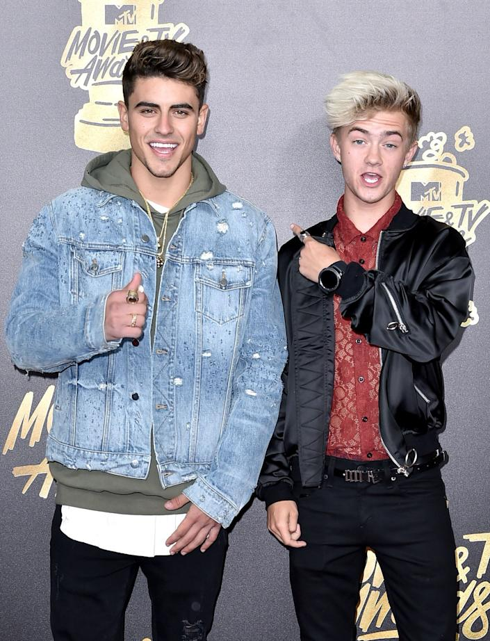 Singers Jack Gilinsky (L) and Jack Johnson attend the 2017 MTV Movie And TV Awards at The Shrine Auditorium on May 7, 2017 in Los Angeles, California.