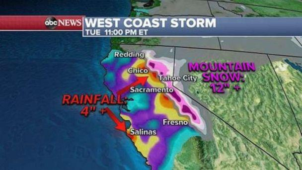 PHOTO: In the mountain elevations of California, some areas are expecting upwards of 4 feet of snow through Monday night. (ABC News)