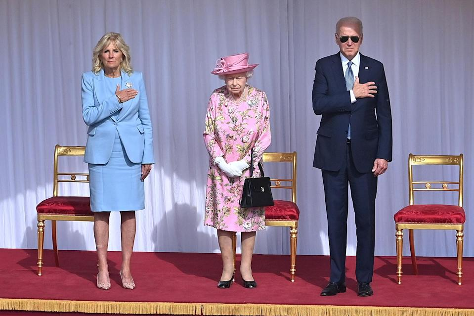 """<p>Following the G-7 summit, the Queen hosted the Bidens at Windsor Castle on June 13. President Biden is <a href=""""https://people.com/royals/queen-elizabeth-us-presidents-photos/"""" rel=""""nofollow noopener"""" target=""""_blank"""" data-ylk=""""slk:the 13th sitting president to meet with the Queen during her reign"""" class=""""link rapid-noclick-resp"""">the 13th sitting president to meet with the Queen during her reign</a>, and the fifth President she's hosted at Windsor. The visit was also among her first public engagements <a href=""""https://people.com/royals/prince-philip-dead-queen-elizabeth-husband-was-99/"""" rel=""""nofollow noopener"""" target=""""_blank"""" data-ylk=""""slk:since the death of her husband Prince Philip"""" class=""""link rapid-noclick-resp"""">since the death of her husband Prince Philip</a> in April at age 99.</p>"""