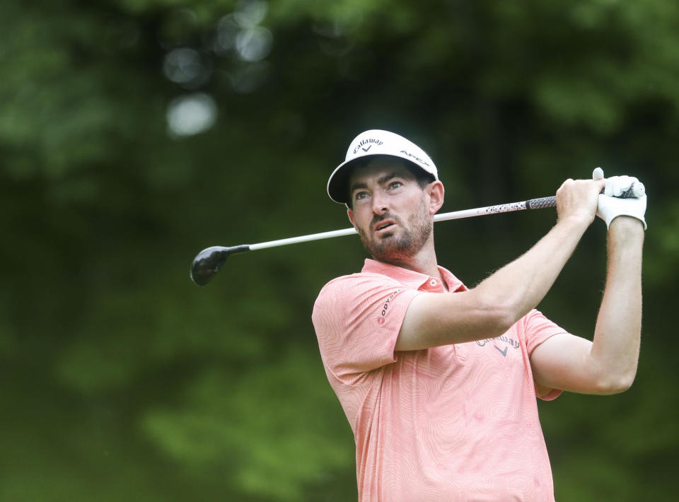 Chase Seiffert watches his tee shot on the sixth hole during the second round of the John Deere Classic golf tournament Friday, July 9, 2021, in Silvis, Ill. (Jessica Gallagher/The Dispatch – The Rock Island Argus via AP)