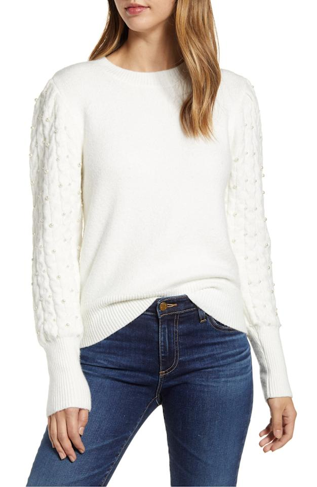 """<p><strong>RACHEL PARCELL</strong></p><p>nordstrom.com</p><p><strong>$53.40</strong></p><p><a href=""""https://go.redirectingat.com?id=74968X1596630&url=https%3A%2F%2Fshop.nordstrom.com%2Fs%2Frachel-parcell-imitation-pearl-embellished-puff-sleeve-sweater-nordstrom-exclusive%2F5345271&sref=https%3A%2F%2Fwww.cosmopolitan.com%2Fstyle-beauty%2Ffashion%2Fg30928278%2Fnordstrom-winter-sale-2020%2F"""" target=""""_blank"""">Shop Now</a></p><p>Gonna make a vow to never wear another boring sweater again with this pearly-sleeved design in mind.</p>"""