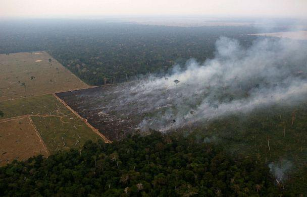 PHOTO: Smoke billows from a fire burning in an area of the Amazon rainforest near Porto Velho, Rondonia State, Brazil, Sept. 17, 2019. (Bruno Kelly/Reuters)