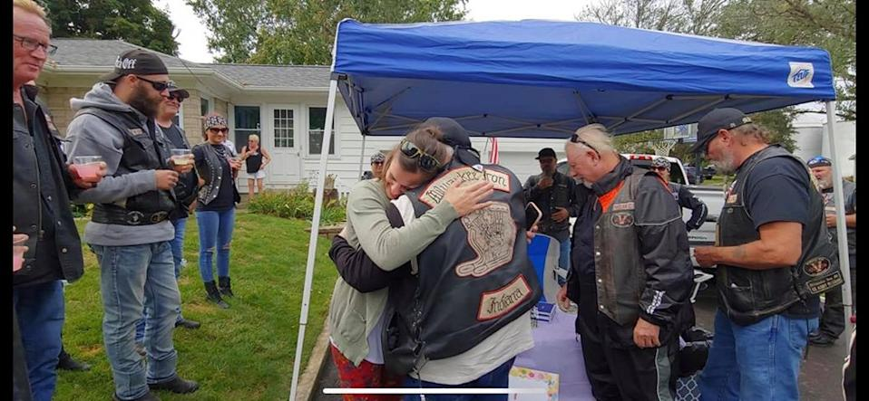Daryn Sturch reunited with some of the very bikers whose lives she saved at her daughter's lemonade stand. (Daryn Sturch)