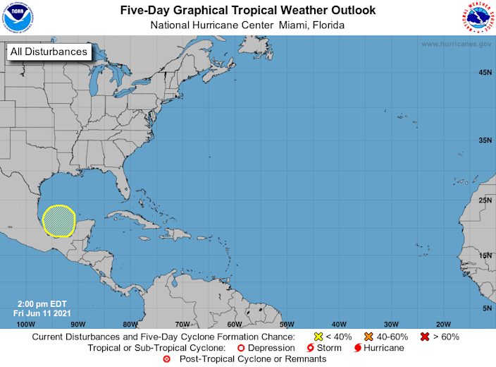 Forecasters from the National Hurricane Center are watching an area in the Gulf of Mexico (yellow circle) for potential tropical development over the next five days.