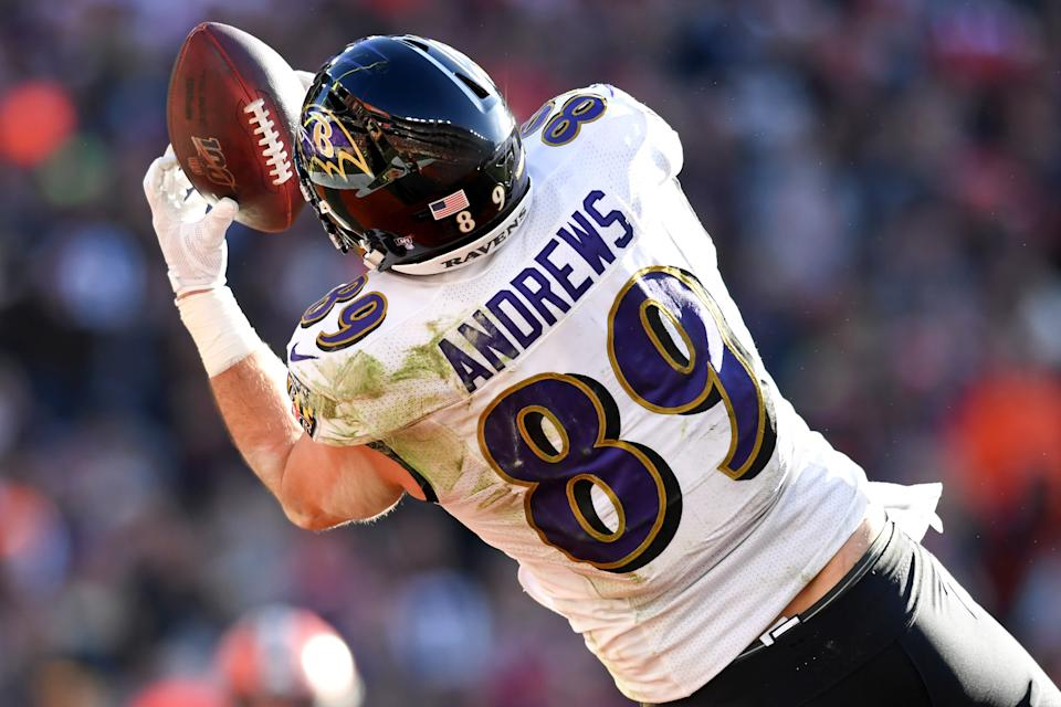 CLEVELAND, OH - DECEMBER 22, 2019: Tight end Mark Andrews #89 of the Baltimore Ravens catches a 14-yard touchdown pass in the second quarter of a game against the Cleveland Browns on December 22, 2019 at FirstEnergy Stadium in Cleveland, Ohio. Baltimore won 31-15. (Photo by: 2019 Nick Cammett/Diamond Images via Getty Images)