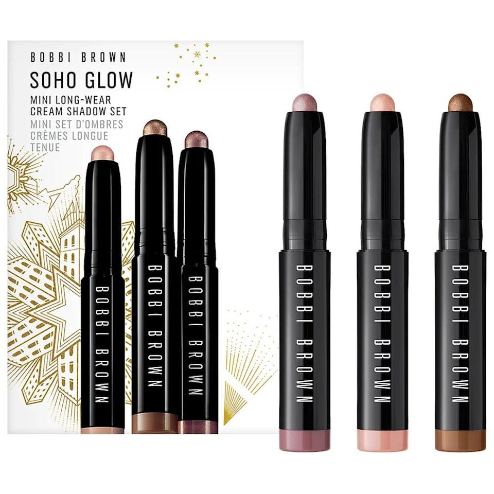 <p>This <span>Bobbi Brown Mini Soho Glow Long-Wear Cream Eyeshadow Stick Set</span> ($29) has three beautiful colors to choose from. They're mini, so they're easy to throw in your bag for a quick night out touch up.</p>