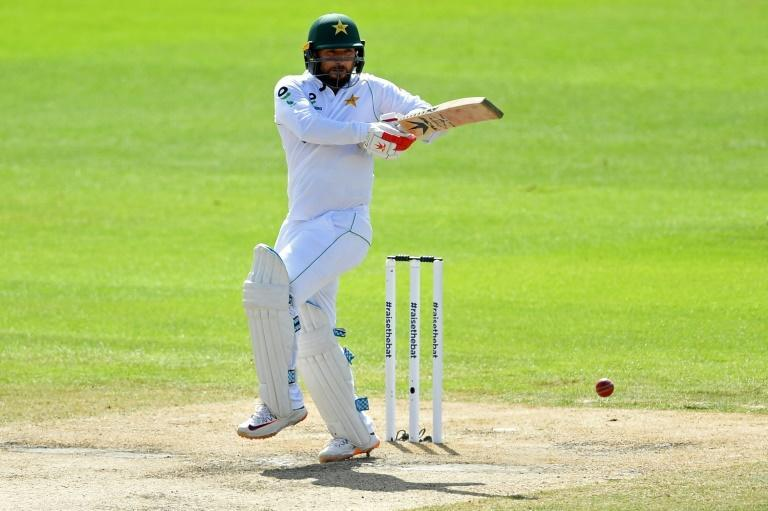 Hitting out - Pakistan's Yasir Shah on his way to 33 against England in the first Test at Old Trafford on Saturday