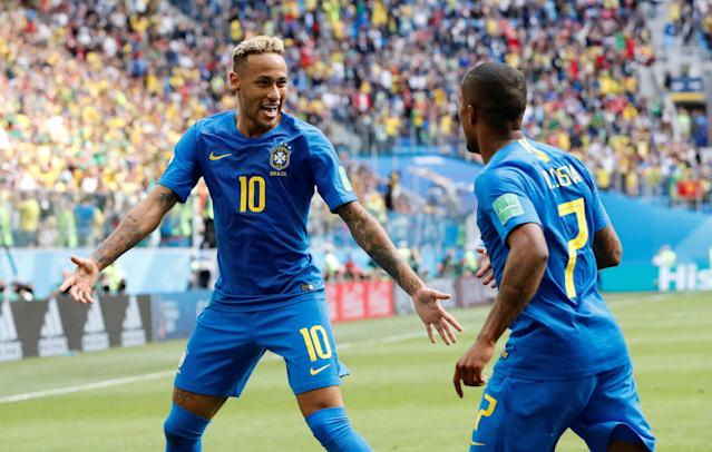 Soccer Football - World Cup - Group E - Brazil vs Costa Rica - Saint Petersburg Stadium, Saint Petersburg, Russia - June 22, 2018 Brazil's Neymar celebrates scoring their second goal with Douglas Costa REUTERS/Carlos Garcia Rawlins TPX IMAGES OF THE DAY