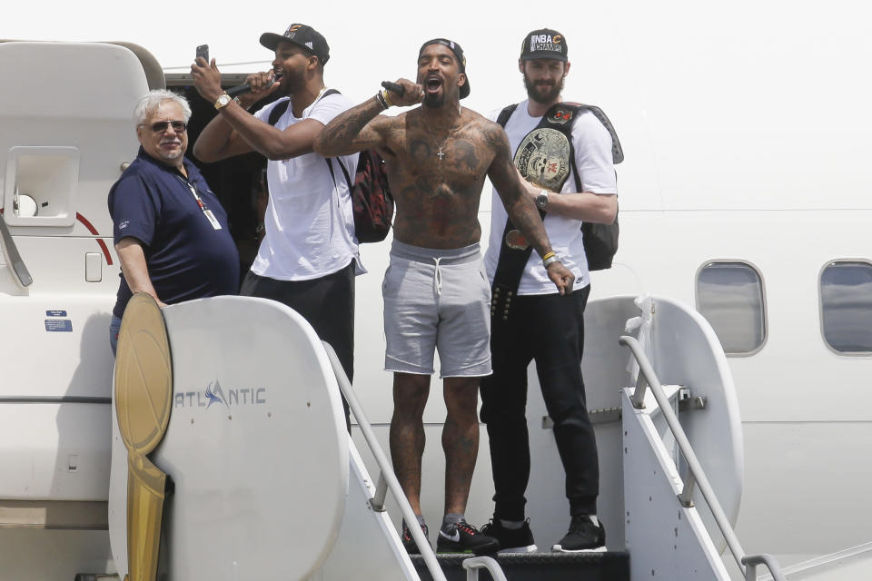 Cleveland Cavaliers teammates Kevin Love, Tristan Thompson and J.R. Smith are due $56.3 million in 2018-19, with or without LeBron James. (AP)