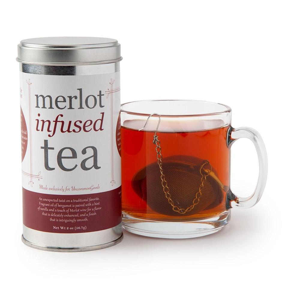 <p>This <span>Merlot Infused Tea</span> ($20) has us very curious.</p>