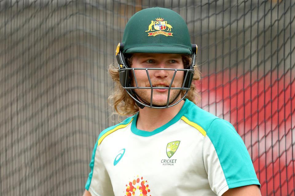 Will Pucovski looks on during an Australian nets session at Melbourne Cricket Ground on January 02, 2021 in Melbourne, Australia.