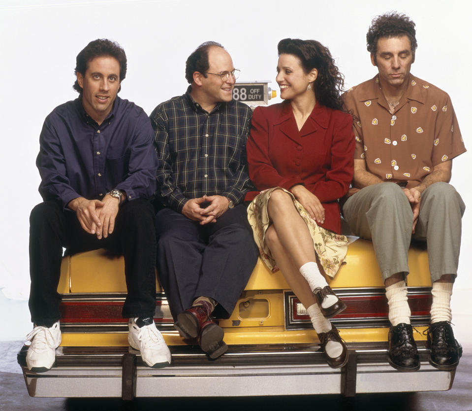 SEINFELD -- Season 6 -- Pictured: (l-r) Jerry Seinfeld, Jason Alexander as George Costanza, Julia Louis-Dreyfus as Elaine Benes, Michael Richards as Cosmo Kramer  (Photo by George Lange/NBC/NBCU Photo Bank via Getty Images)
