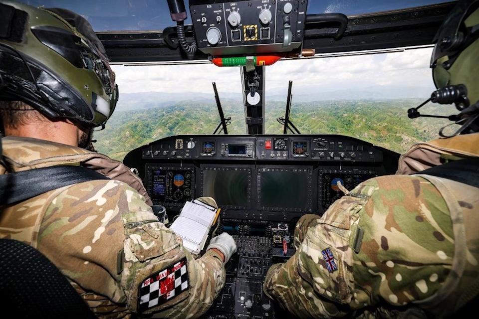 Royal Navy Helicopter conducts assistance flights over Haiti (Credit: Rory Arnold/MoD/Crown Copyright) (PA Media)