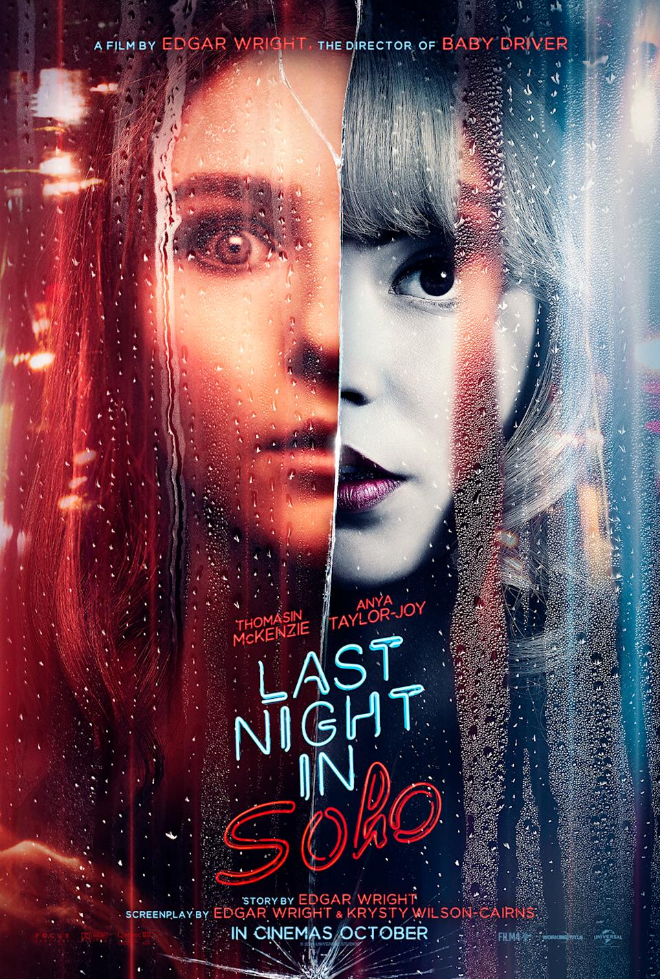 Thomasin McKenzie and Anya Taylor-Joy feature on the teaser poster for Edgar Wright's Last Night In Soho (Universal)
