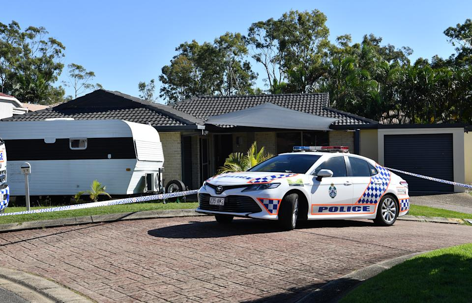 A police car outside the home of Kelly Wilkinson on the Gold Coast.
