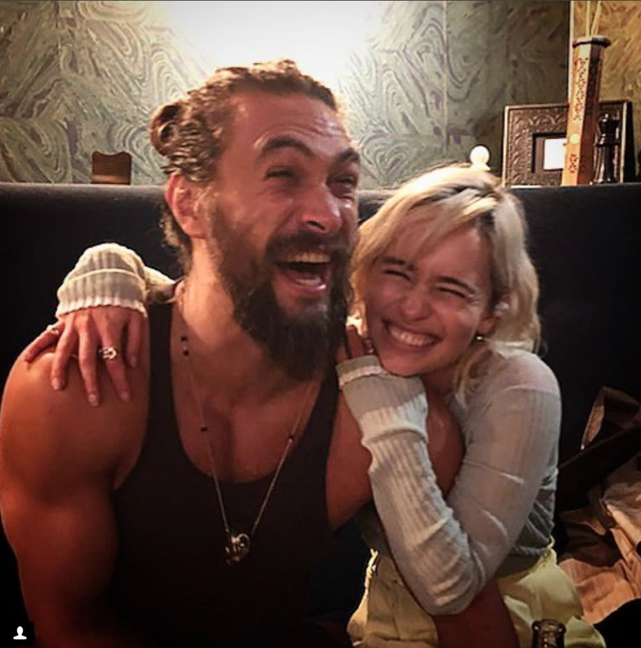 """<p>It was a giddy <em>Game of Thrones</em> reunion! """"When life is so good that your sun and stars is in your city, you lose your eyes and gain 5 grins (and gins) where until now they'd only been one (*grins- there's always more gins),"""" the actress captioned this photo with <em>Justice League</em> star Jason Momoa. The friends looked absolutely ecstatic to spend some time together in a London pub, as Momoa was in town doing publicity for his new movie. """"You always Mother of Dragons main man,"""" she assured him. (Photo: <a rel=""""nofollow noopener"""" href=""""https://www.instagram.com/p/BbHHxuEl73O/?taken-by=emilia_clarke"""" target=""""_blank"""" data-ylk=""""slk:Emilia Clarke via Instagram"""" class=""""link rapid-noclick-resp"""">Emilia Clarke via Instagram</a>) </p>"""