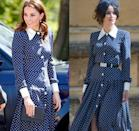 <p>We first saw this Alessandra Rich polka dot dress at Meghan and Prince Harry's 2018 wedding, but it wasn't on the Duchess of Cambridge. Meghan's long-time friend, actress Abigail Spencer, wore the look, and Kate wore it later for a family portrait in 2019. </p>