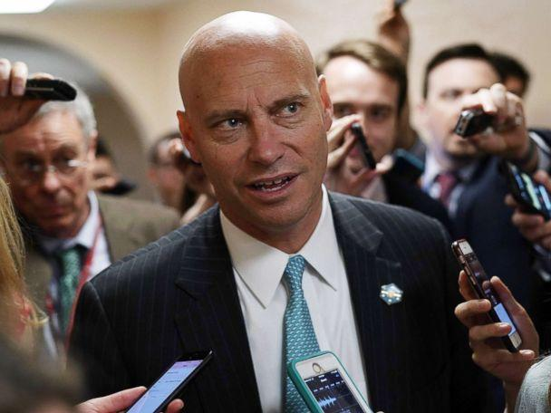 PHOTO: White House Director of Legislative Affairs Marc Short speaks to members of the media as he leaves a Republican conference meeting on Capitol Hill in Washington, D.C., June 7, 2018. (Alex Wong/Getty Images)