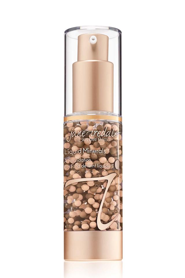 """<p><strong>jane iredale</strong></p><p>amazon.com</p><p><strong>$55.00</strong></p><p><a rel=""""nofollow"""" href=""""http://www.amazon.com/dp/B0036G31JC/"""">Shop Now</a></p><p>This liquid foundation is so lightweight that it literally feels like a serum on your skin. The formula is filled with a mix of mica (light-reflecting mineral pigments), hyaluronic acid (a superhero hydrator), and aloe juice (a soother), all of which work together to make your skin look dewy as hell.</p>"""