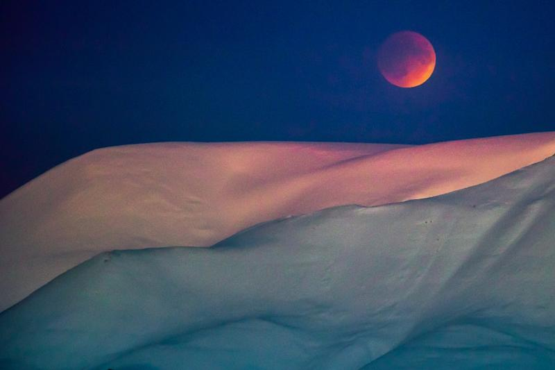A super blue blood moon above the capital of the Svalbard archipelago,  Longyearbyen, scene of a bank robbery on Friday