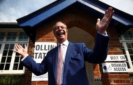 Brexit Party leader Nigel Farage votes in the European elections, in Biggin Hill