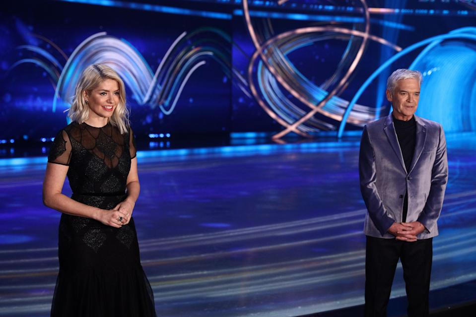 Editorial use only  Mandatory Credit: Photo by Matt Frost/ITV/Shutterstock (11736470fw)  Phillip Schofield and Holly Willoughby  'Dancing On Ice' TV show, Series 13, Episode 3, Hertfordshire, UK - 31 Jan 2021
