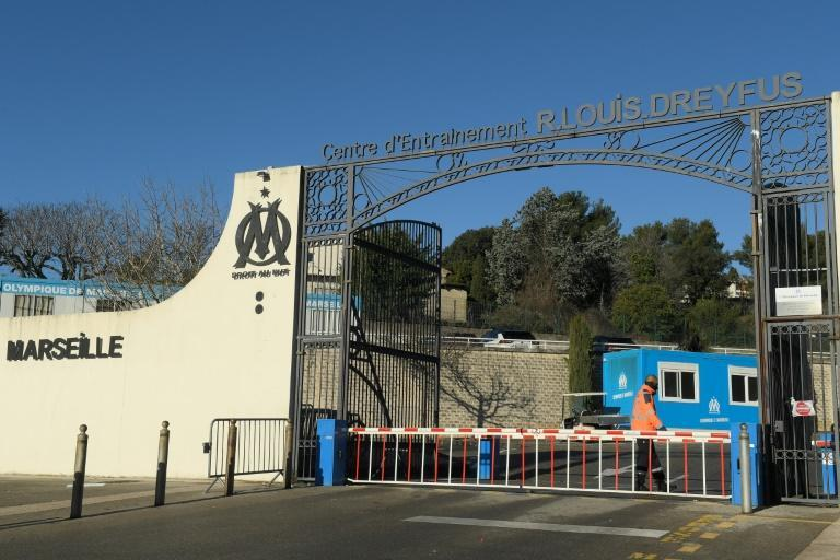 A security officer at the entrance to Marseille's training ground on Sunday