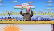 Iraqi Kurdish President Masoud Barzani gestures as he attends a rally in support for the upcoming September 25th independence referendum in Zakho, Iraq September 14, 2017. REUTERS/Ari Jalal