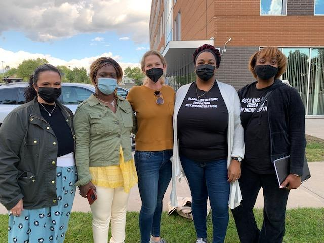 Minneapolis parent Sara Spafford Freeman, center, flanked by National Parent Union leaders (left to right) Keri Rodrigues, Khulia Pringle, Tafshier Cosby-Thomas and Vivett Dukes