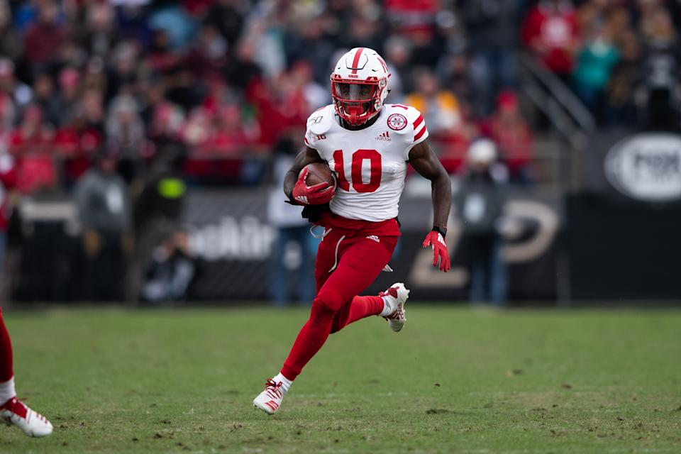 WEST LAFAYETTE, IN - NOVEMBER 02: Nebraska Cornhuskers wide receiver JD Spielman (10) runs up the field after a catch during the college football game between the Purdue Boilermakers and Nebraska Cornhuskers on November 2, 2019, at Ross-Ade Stadium in West Lafayette, IN. (Photo by Zach Bolinger/Icon Sportswire via Getty Images)