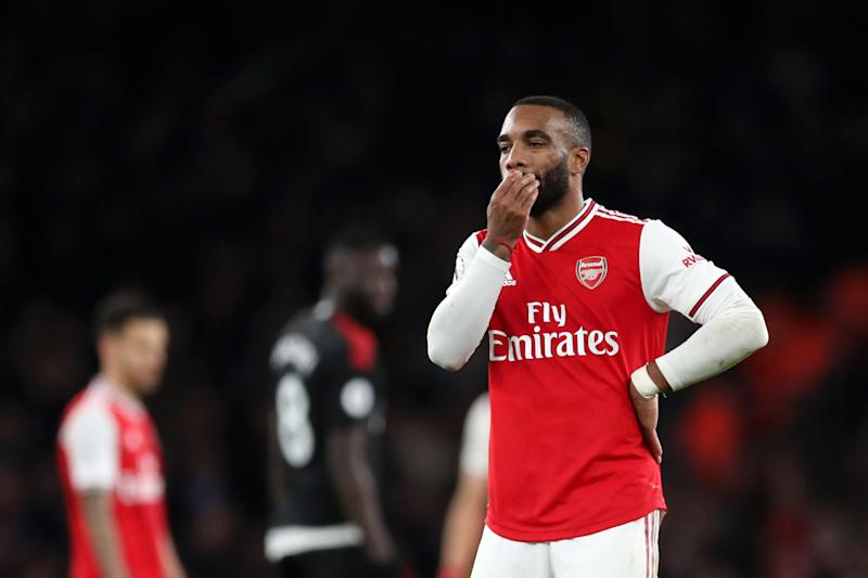 LONDON, ENGLAND - OCTOBER 27: Alexandre Lacazette of Arsenal reacts after their team's third goal scored by Sokratis Papastathopoulos was disallowed following a VAR check during the Premier League match between Arsenal FC and Crystal Palace at Emirates Stadium on October 27, 2019 in London, United Kingdom. (Photo by Alex Morton/Getty Images)