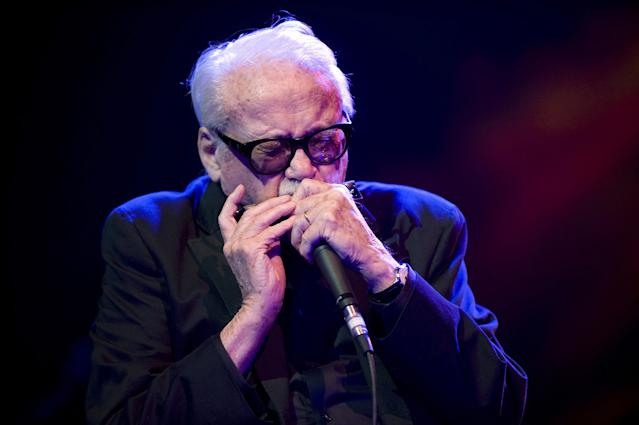 <p>Belgian jazz harmonica player Toots Thielemans (he also dabbled in guitar and whistling) died at 94 on August 22. — (Pictured) Toots Thielemans performs on stage as part of Night Of The Proms at Ahoy in 2009 in Rotterdam, Netherlands. (Rob Verhorst/Redferns) </p>