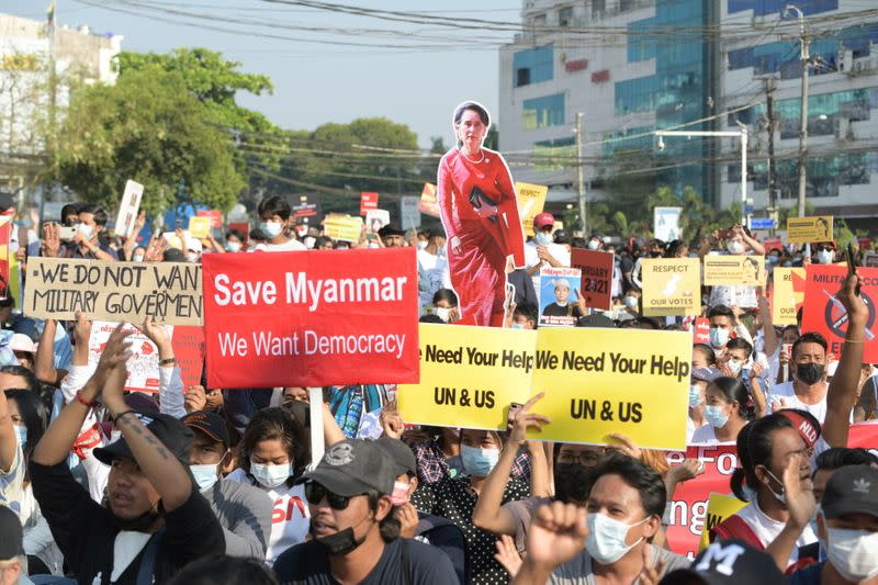 Protest against the military coup, in Yangon