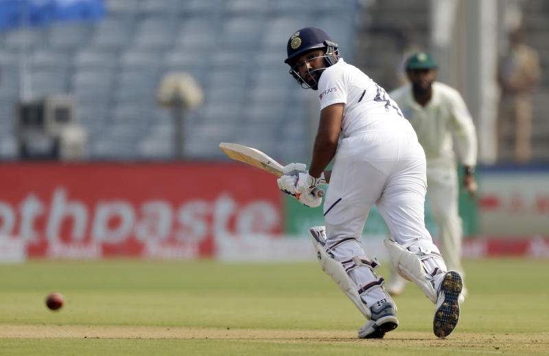 India's Rohit Sharma bats during the second cricket test match between India and South Africa in Pune, India, Thursday, Oct. 10, 2019. (AP Photo/Rajanish Kakade)