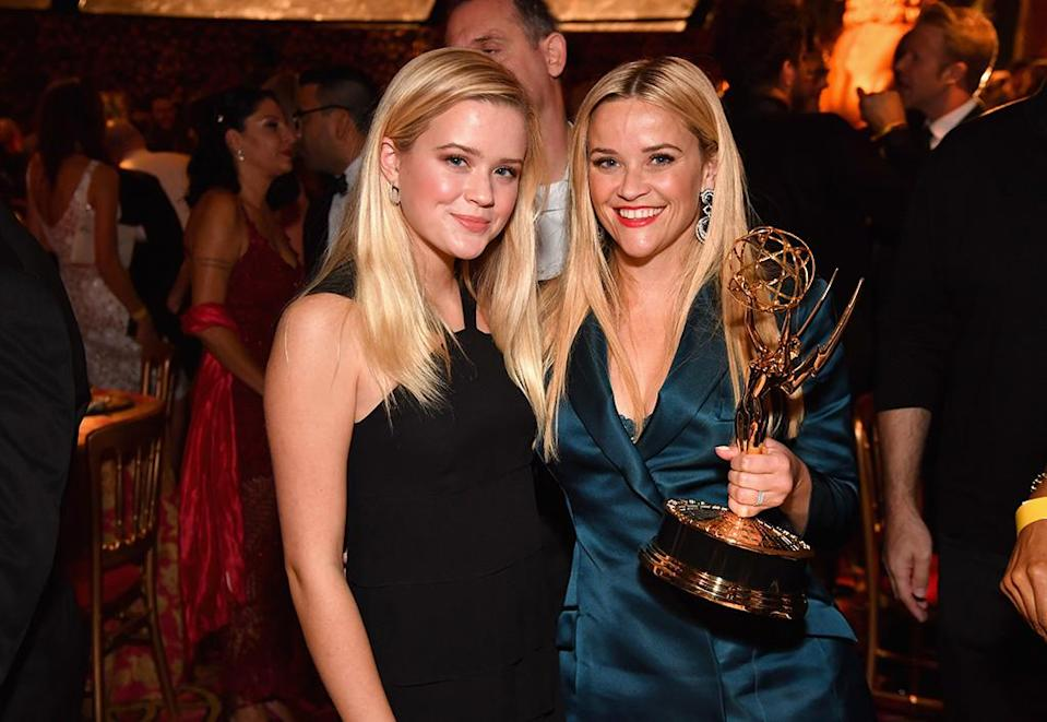 <p>Perhaps Reese's good luck charm was her daughter, Ava Phillippe. Her lookalike, who recently turned 18, made the scene with her at the HBO bash. (Photo: Getty Images)(Photo by Jeff Kravitz/FilmMagic) </p>