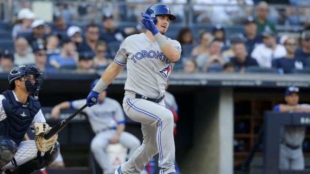 Reese McGuire of the Toronto Blue Jays was arrested last weekend for the exposure of sexual organs. (Jim McIsaac/Getty Images)