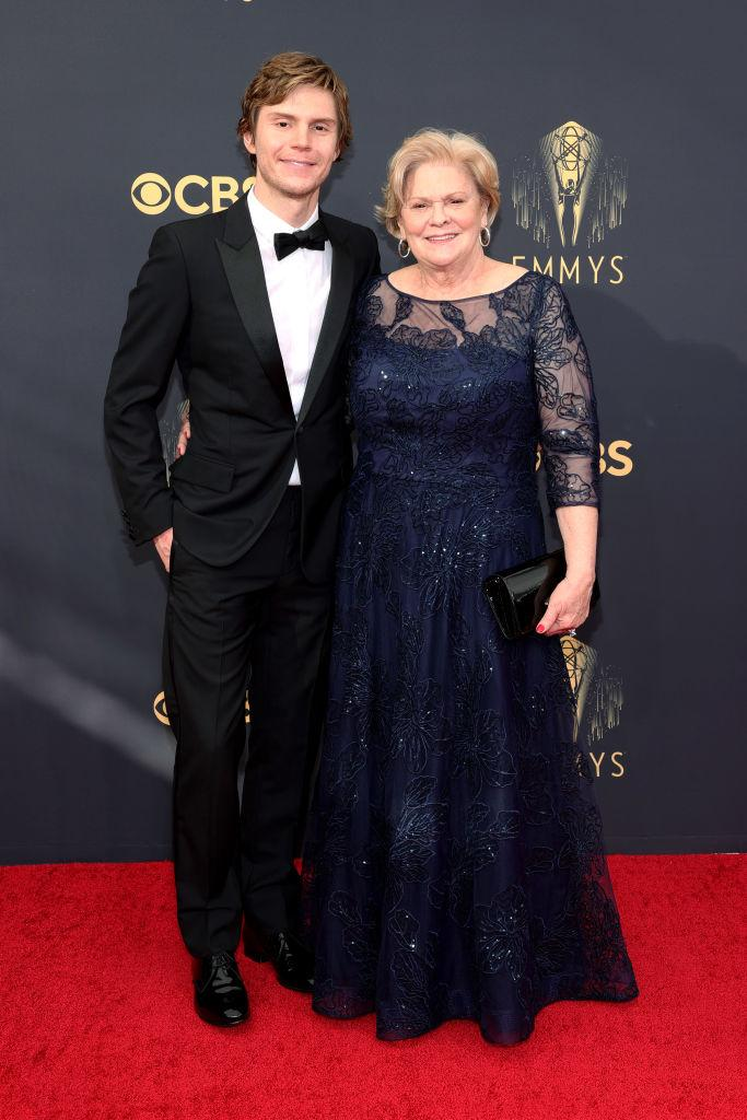 Evan Peters and his mom, Julie Peters, attend the 73rd Primetime Emmy Awards on Sept. 19 at L.A. LIVE in Los Angeles. (Photo: Rich Fury/Getty Images)