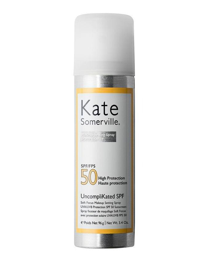 """If you're serious about skincare, you'll love this. It's a little thicker in texture compared to others, but it isn't greasy or clogging and provides excellent UVA and UVB protection with SPF 50. Be sure to spray at arm's length to avoid any white marks or product gathering in your hairline.<br><br><strong>Kate Somerville</strong> UncompliKated SPF 50, $, available at <a href=""""https://www.cultbeauty.co.uk/kate-somerville-uncomplikated-spf-50.html"""" rel=""""nofollow noopener"""" target=""""_blank"""" data-ylk=""""slk:Cult Beauty"""" class=""""link rapid-noclick-resp"""">Cult Beauty</a>"""