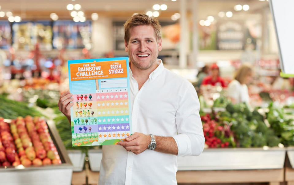 Curtis Stone has assisted in creating the Rainbow Challenge, and developed some recipes which are intended to be easy for kids to prepare with their parents. Source: Coles
