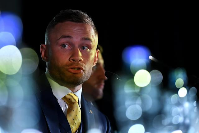 Boxing - Carl Frampton & Tyson Fury Press Conference - Windsor Park, Belfast, Britain - June 18, 2018 Carl Frampton during the press conference REUTERS/Clodagh Kilcoyne