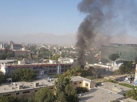 Smoke rises at Zawul Institute of Higher Education after an explosion near the institute in Kabul, Afghanistan July 24, 2017 in this still photograph uploaded on social media. Ahmad Shuja/Social Media/Handout via Reuters