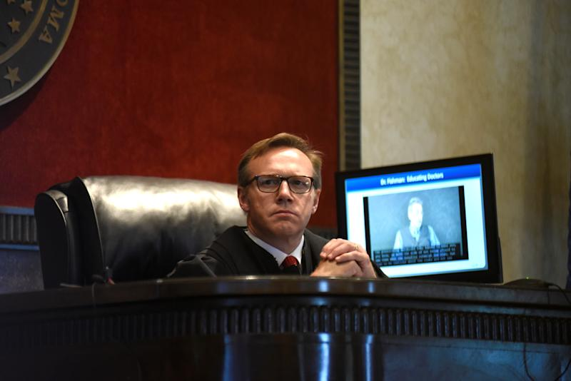 Judge Thad Balkman listens to a piece of evidence on the first day of a trial accusing Johnson & Johnson of engaging in deceptive marketing that contributed to the national opioid epidemic in Norman, Oklahoma, U.S. May 28, 2019. REUTERS/Nick Oxford