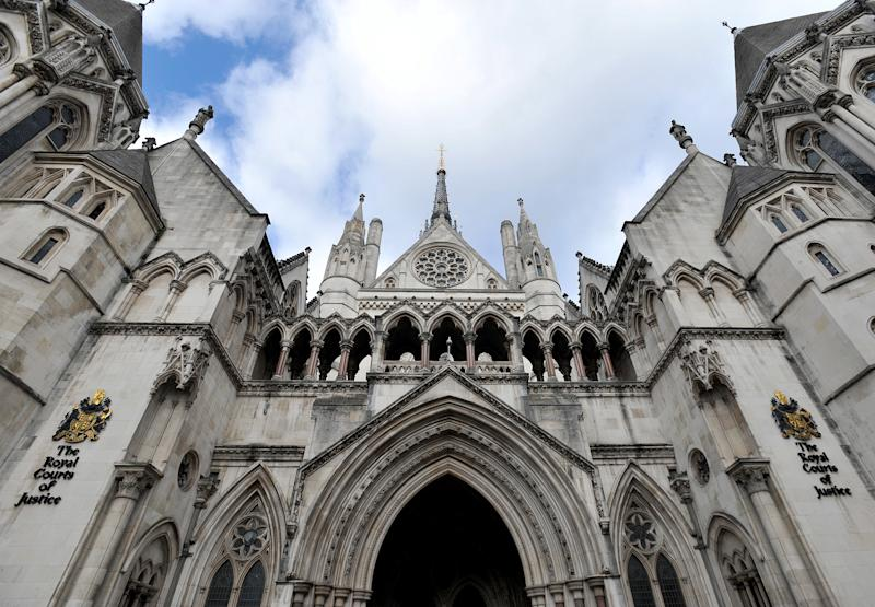 Stock photo of detail above the main entrance to the Royal Courts of Justice in central London.