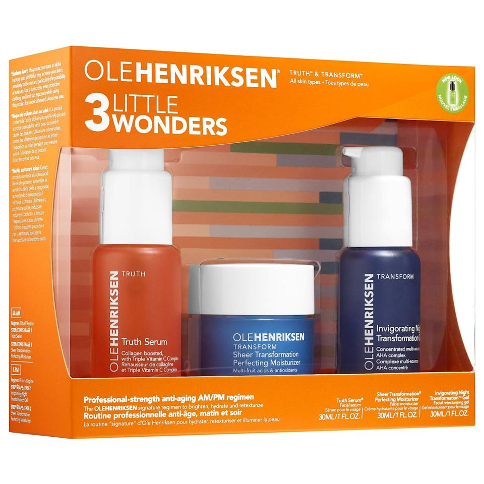 "<h3>Ole Henriksen 3 Little Wonders</h3><br>Hello, major steal alert. This iconic value set contains three full-size skin-care products (already worth $110), that are further discounted to $52.<br><br><strong>OLEHENRIKSEN</strong> 3 Little Wonders™ ($110 value), $, available at <a href=""https://go.skimresources.com/?id=30283X879131&url=https%3A%2F%2Ffave.co%2F33wbFiw"" rel=""nofollow noopener"" target=""_blank"" data-ylk=""slk:Sephora"" class=""link rapid-noclick-resp"">Sephora</a>"