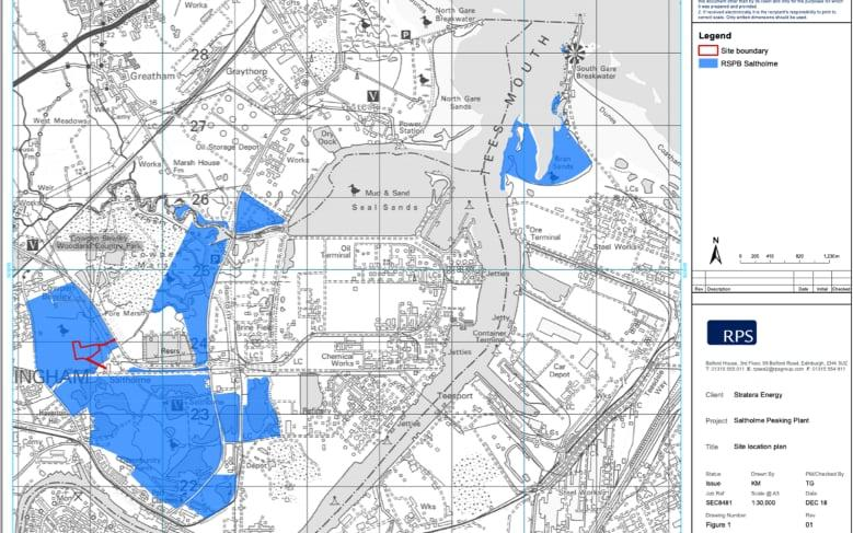 Planning maps show the power station (in red) will be on the nature reserve (in blue)