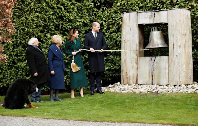 The Duke and Duchess of Cambridge ring the Peace Bell. (Press Association)