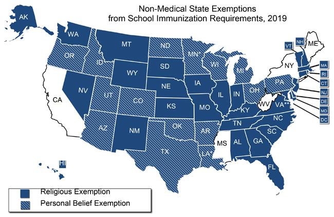 Five states have no vaccine exemptions. (Map: National Conference of State Legislatures)