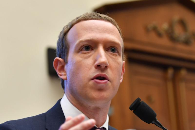"""Facebook Chairman and CEO Mark Zuckerberg testifies before the House Financial Services Committee on """"An Examination of Facebook and Its Impact on the Financial Services and Housing Sectors"""" in the Rayburn House Office Building in Washington, DC on October 23, 2019."""